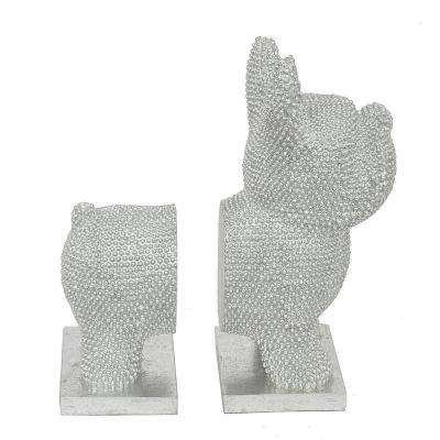 9.75 in. Silver Resin Dog Bookends (Set of 2)