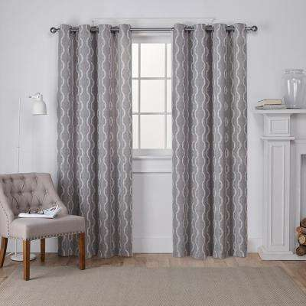 Baroque 54 in. W x 96 in. L Linen Grommet Top Curtain Panel in Ash Gray (2 Panels)
