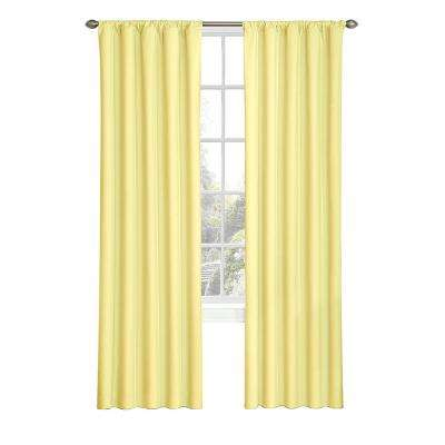 Kids Microfiber Blackout Window Curtain Panel in Yellow - 42 in. W x 63 in. L
