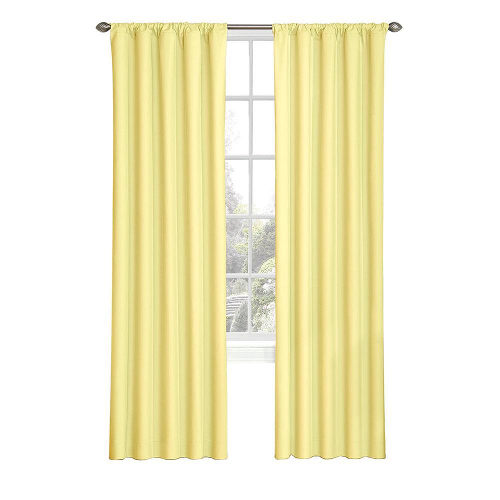 Eclipse Kids Microfiber Blackout Window Curtain Panel in Yellow - 42 in. W x 84 in. L