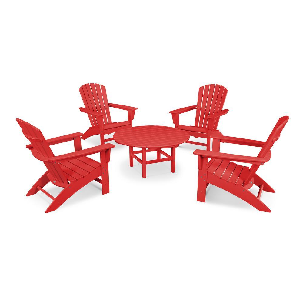 Grant Park Sunset Red 5-Piece Plastic Traditional Curveback Adirondack Patio Conversation Set
