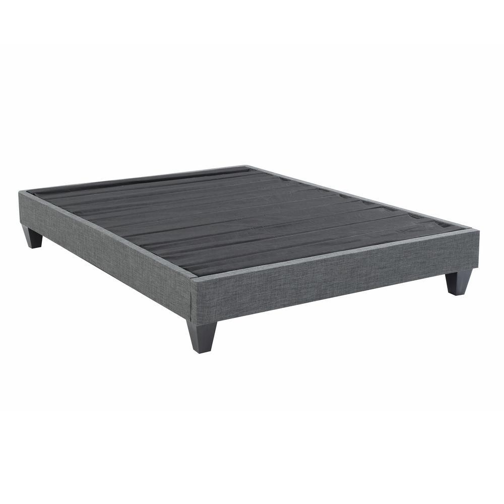 Contemporary Upholstered Grey King Platform Bed