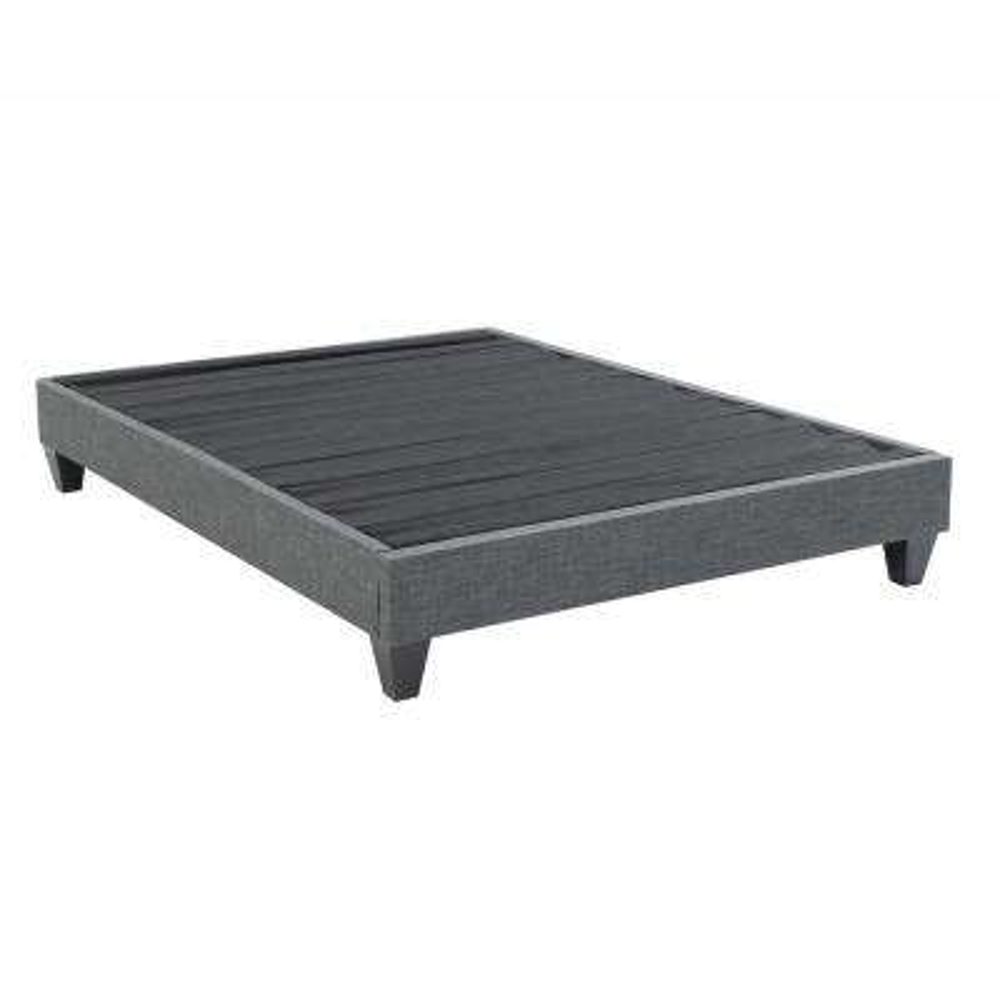 Contemporary Upholstered Grey California King Platform Bed