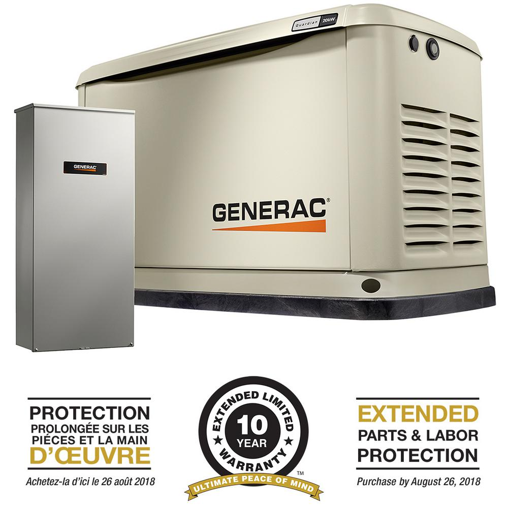 house generator. Perfect Generator Generac 20000Watt Air Cooled Standby Generator With Whole House 200 Amp  Automatic Transfer Switch And