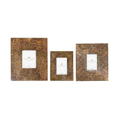 5 x 7 and 4 x 6 1-Opening Assorted Size Embossed Antique Bronze Picture Frames (3-Pack)
