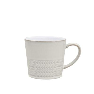 Natural Canvas 10 oz. White Stoneware Textured Large Mug