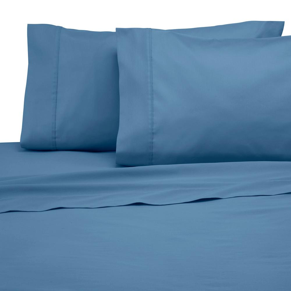Solid Color T300 4 Piece Medium Blue Cotton Full Sheet Set