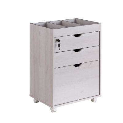 Dune White Oak Mobile File Cabinet With Locking Drawers