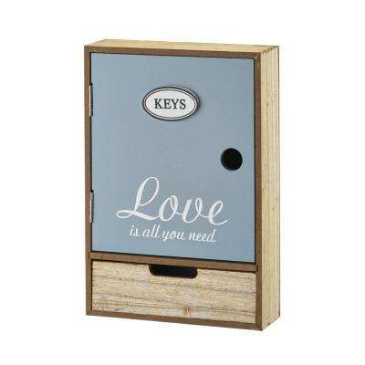 Wood Love Word Key Cabinet Box with Convenient Drawer
