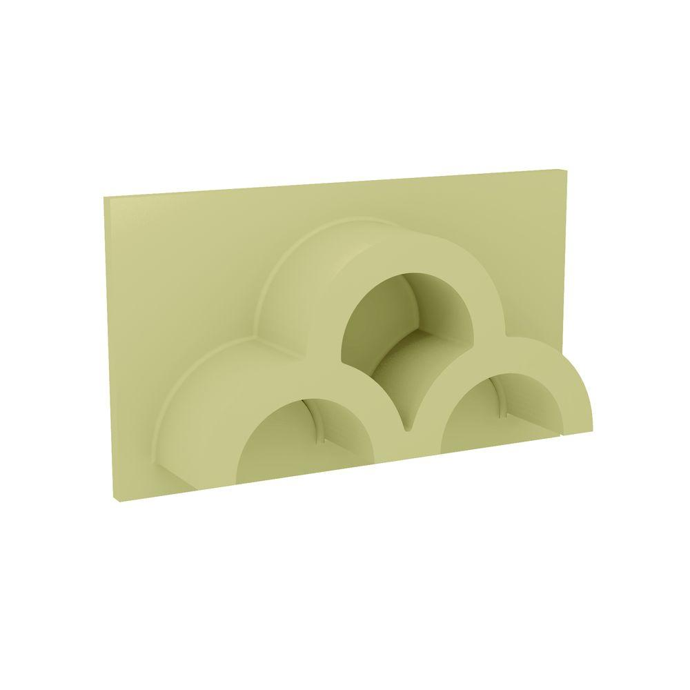 Fypon 14 in. x 8 in. x 3-1/2 in. Polyurethane 3-Hole Half Round Clustered Tile Vent