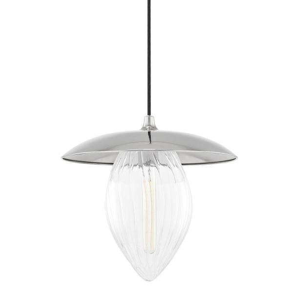 Lana 1-Light Polished Nickel Large Pendant with Glass Shade