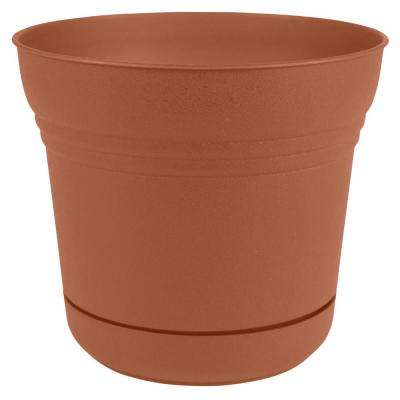 Saturn 14 in. x 12.75 in. Terra Cotta Plastic Planter with Saucer