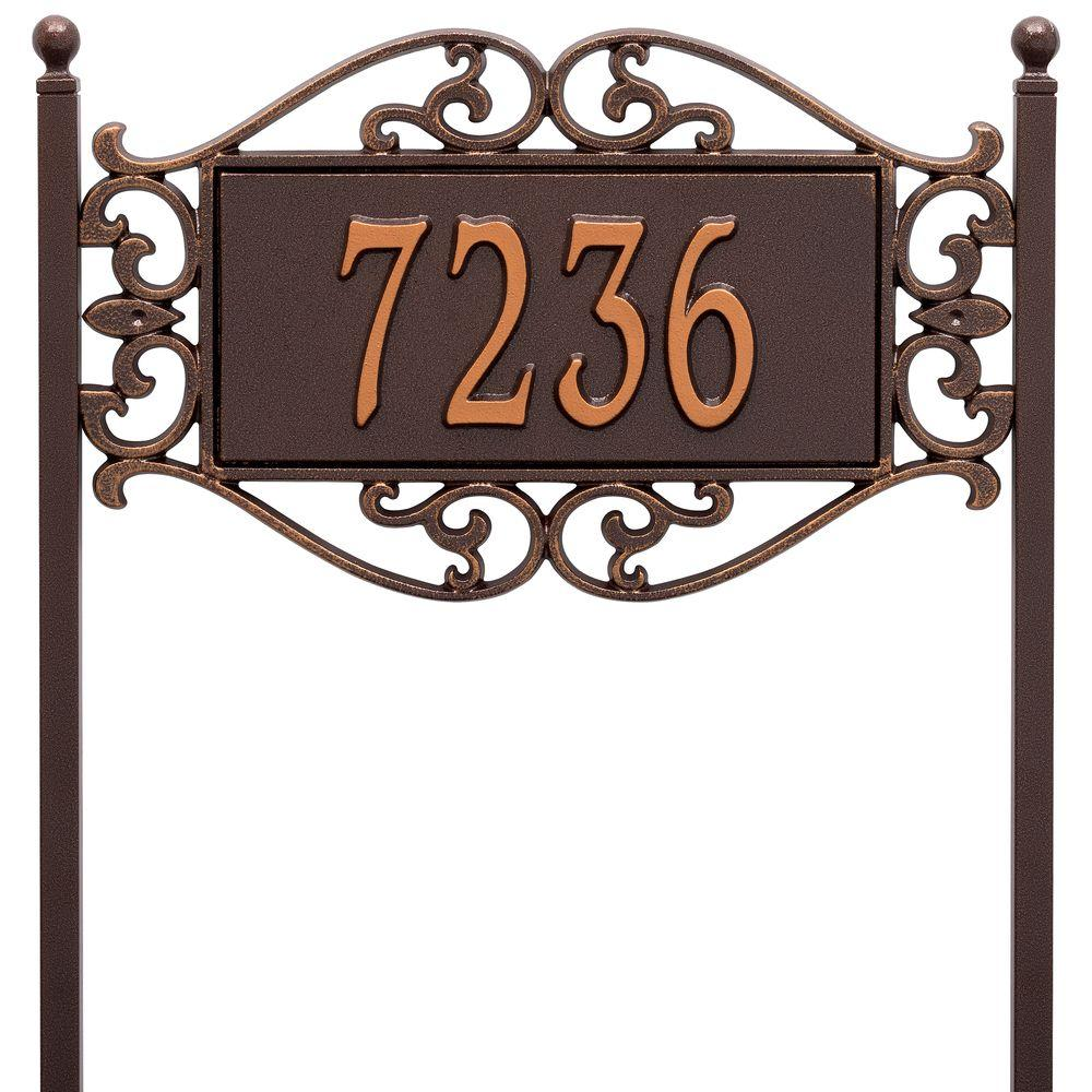 Lewis Fretwork Rectangular Antique Copper Standard Lawn One Line Address Plaque