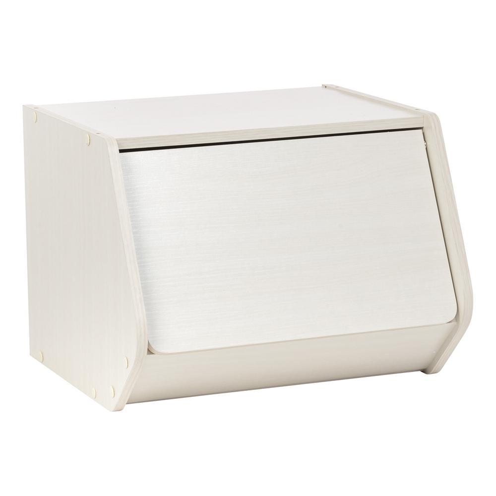 TACHI Modular Off White Wood Stacking Storage Box with Door