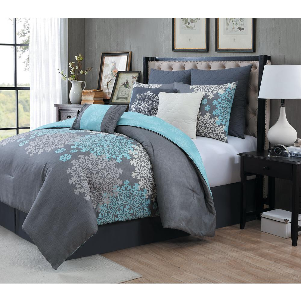 Avondale Manor Amber 9 Piece Aqua King Comforter Set