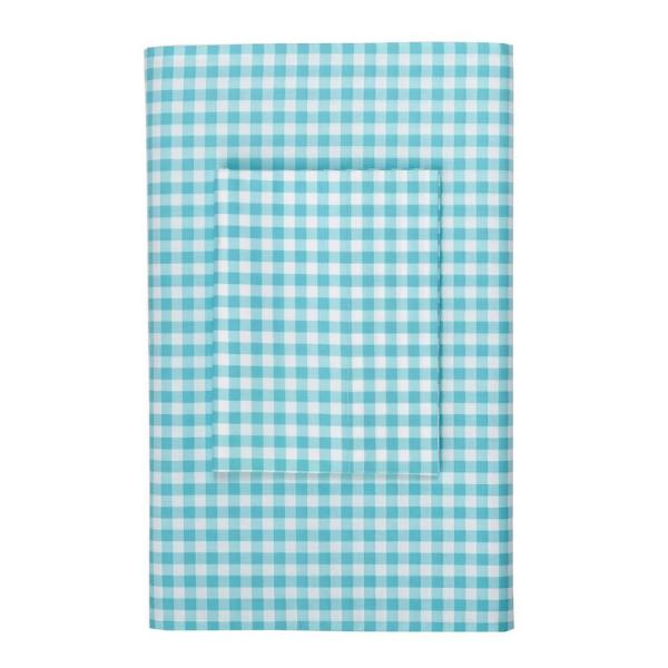 Leaf Green 100/% Cotton New Company Store Kids Gingham Percale Flat Sheet Twin