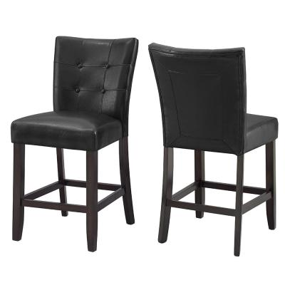 Francis Tufted Black Counter Chair -(Set of 2)