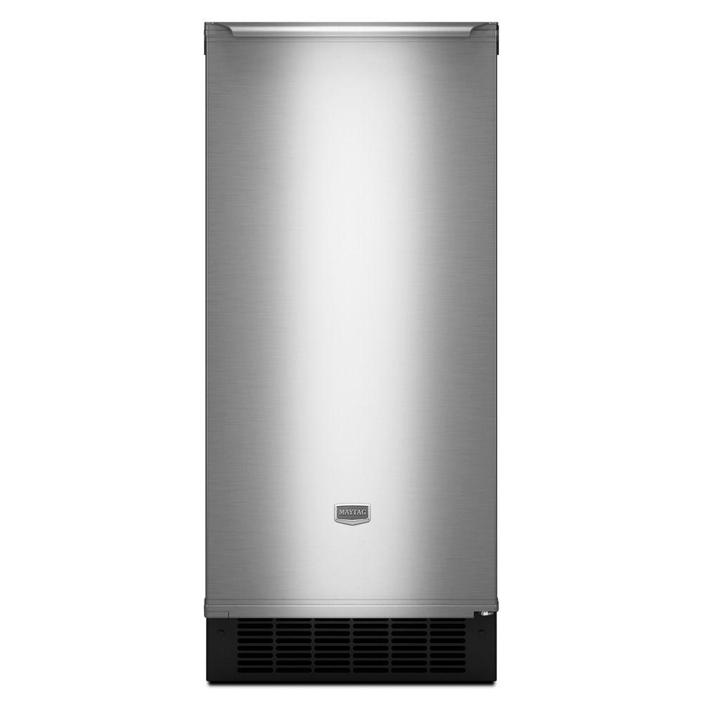 Maytag 15 in. 50 lb. Freestanding or Built-In Icemaker in Stainless Steel