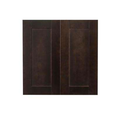 Anchester Assembled 24 in. x 30 in. x 12 in. Wall Cabinet with 2 Doors 2 Shelves in Dark Espresso
