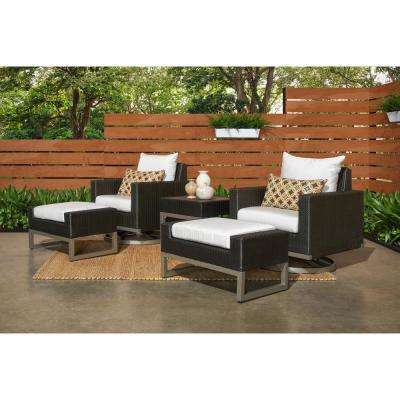 Milo Espresso 5-Piece Motion Wicker Patio Conversation Set with Sunbrella Moroccan Cream Cushions