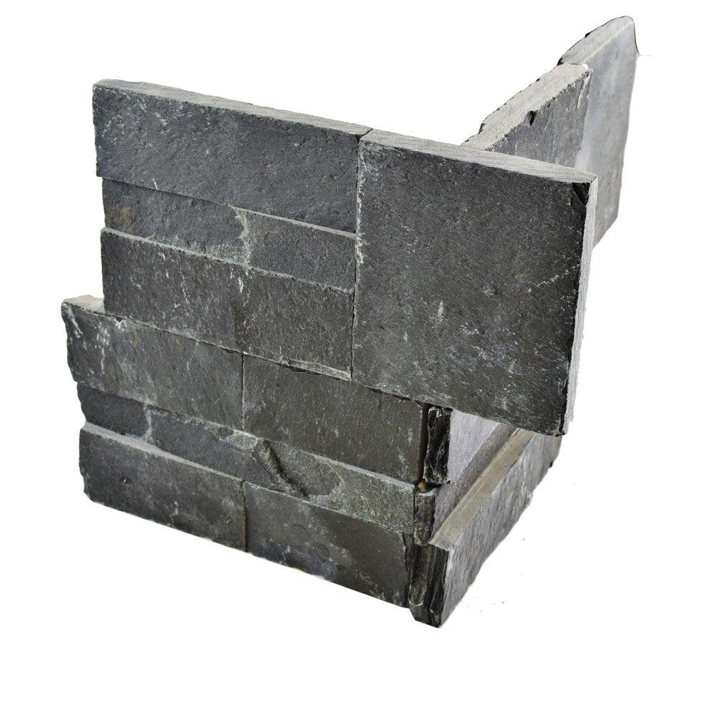 Merola Tile Ledger Panel Black Slate Corner 7 in. x 7 in. Natural Stone Wall Tile