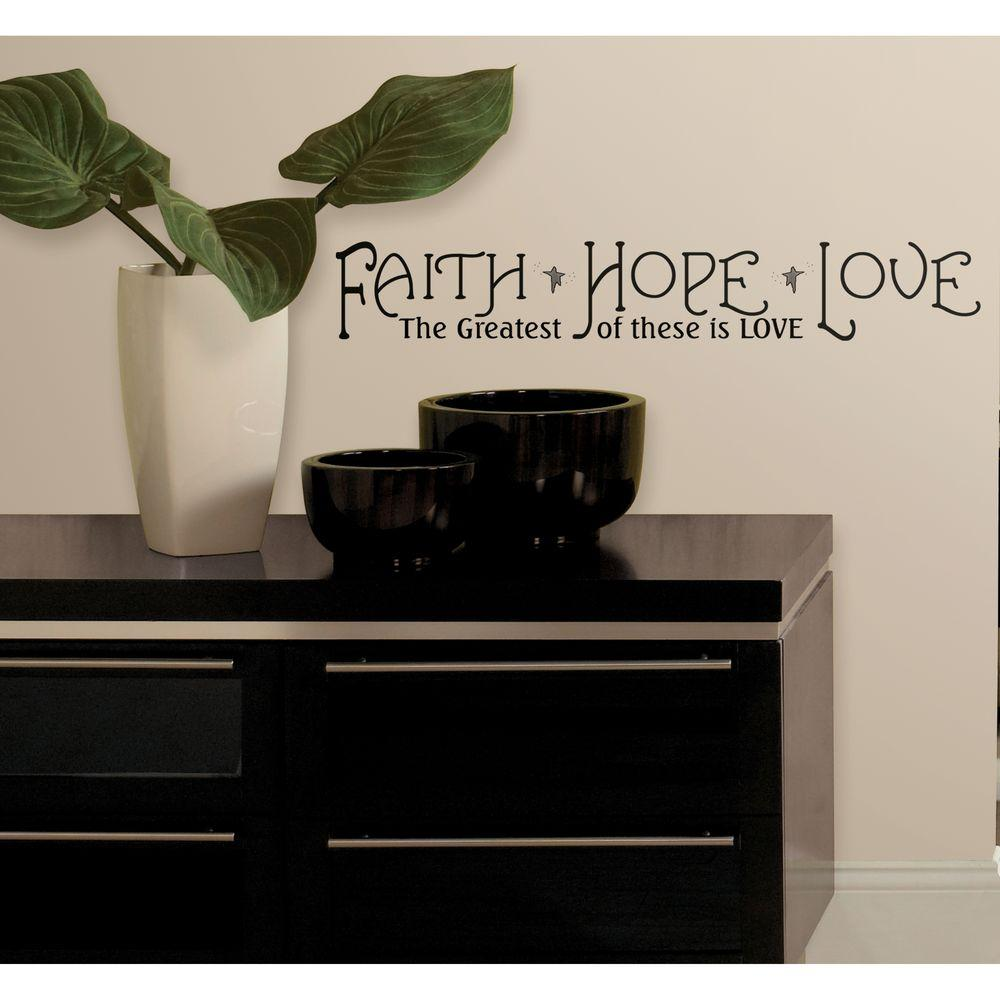 33 in. x 5 in. Faith, Hope and Love Peel and