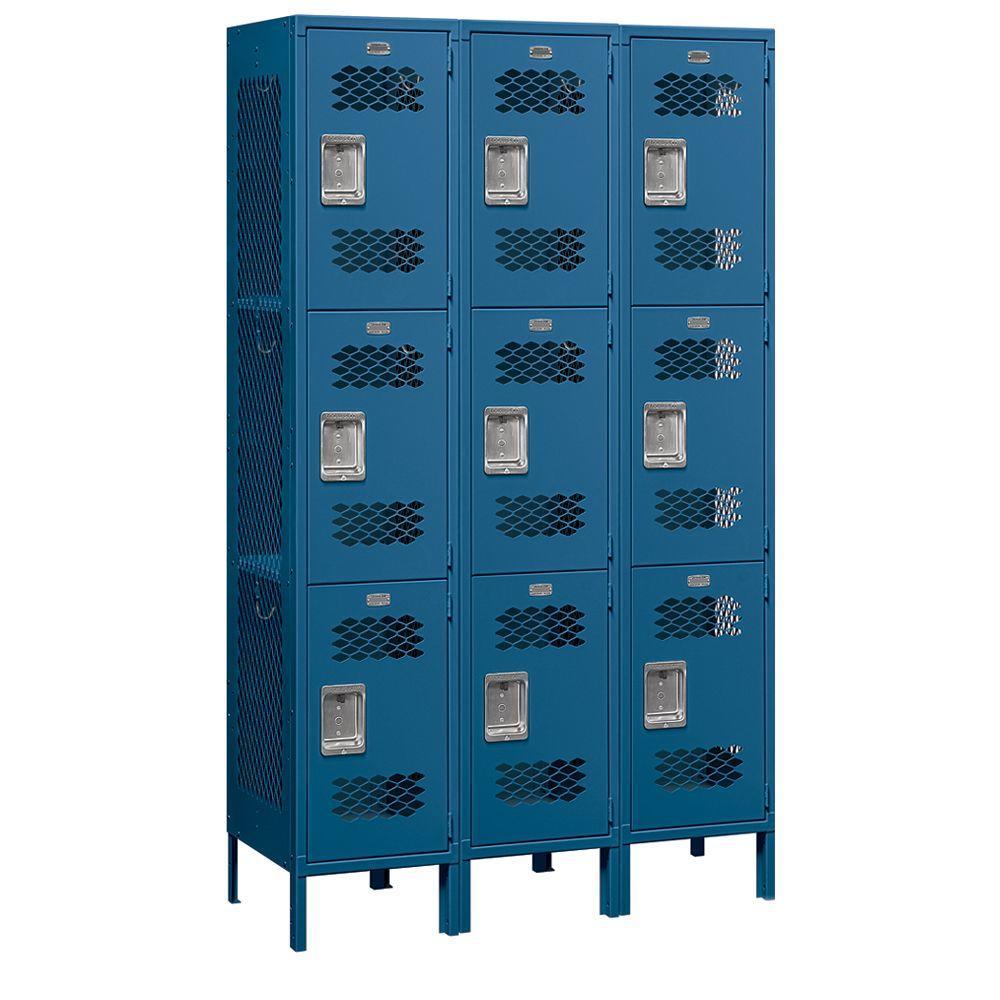 Salsbury Industries 83000 Series 45 in. W x 78 in. H x 18 in. D 3-Tier Extra Wide Vented Metal Locker Unassembled in Blue