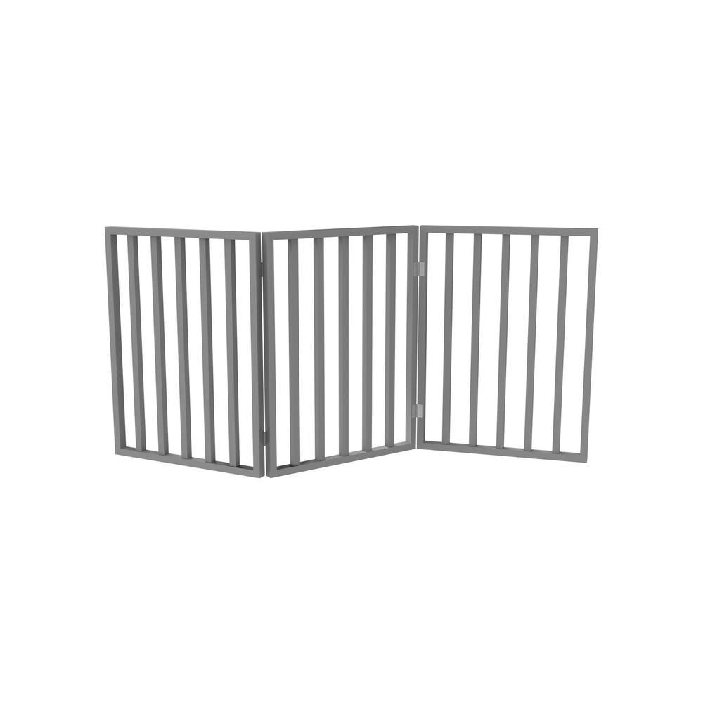 54 in. x 24 in. Wooden Freestanding Gray Pet Gate