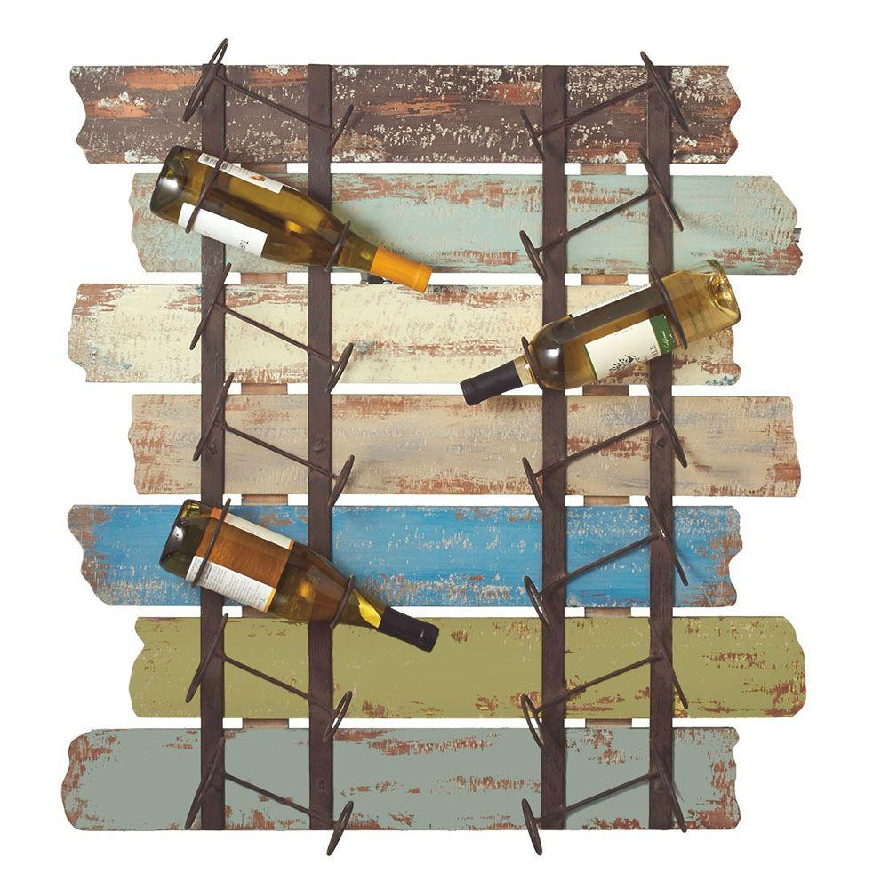 Sundry 31.5 in. Distressed Wood Wine Bottle Holder in Multi Colored