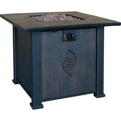 Lari 30 in. x 24.21 in. Square Steel Propane Gas Fire Table Pit with  Envirostone Construction