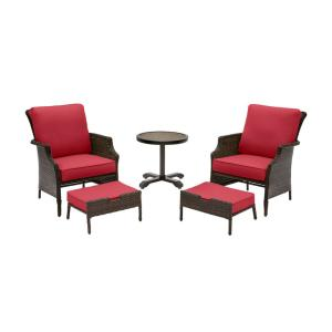 Grayson 5-Piece Brown Wicker Outdoor Patio Small Space Chat Seating Set with CushionGuard Chili Red Cushions