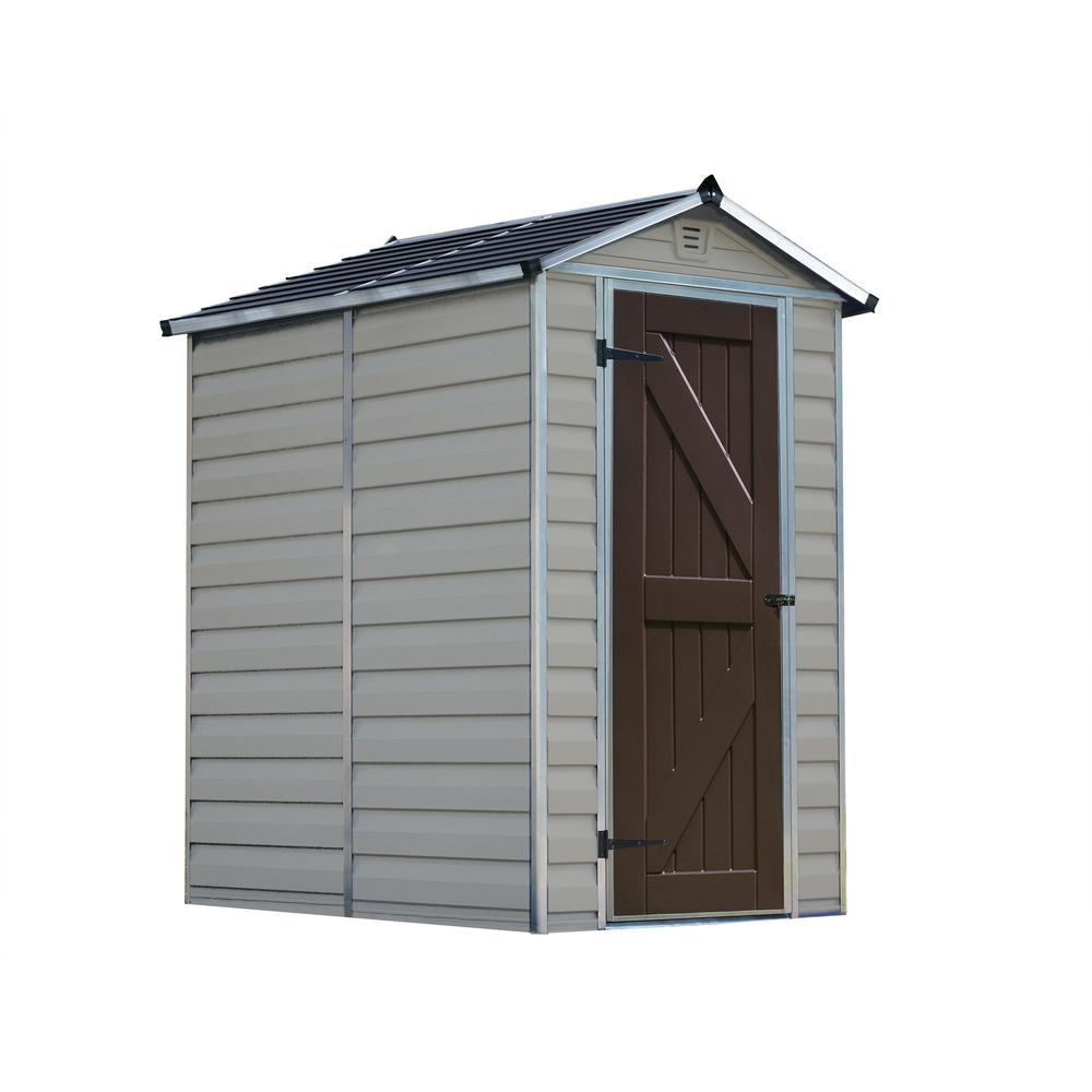 Palram Skylight 4 Ft X 6 Ft Polycarbonate Shed In Tan
