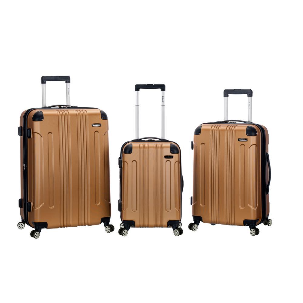 Rockland Sonic 3-Piece Hardside Spinner Luggage Set, Gold