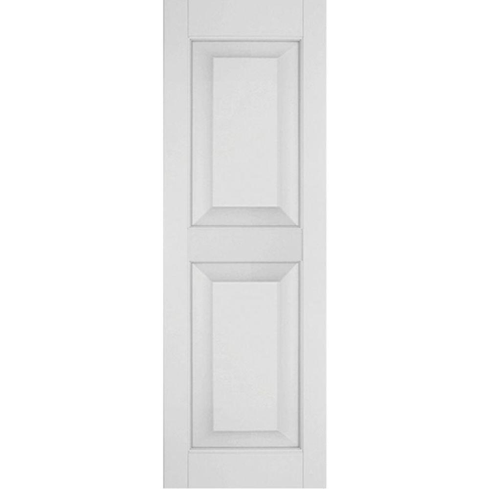 Ekena Millwork 18 in. x 52 in. Exterior Real Wood Pine Raised Panel Shutters Pair Primed