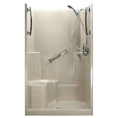 Freedom Chrome-V 48 in. x 37 in. x 80 in. 1-Piece Low Threshold Shower Stall in Beach, Shower Kit, L-Seat, Center Drain