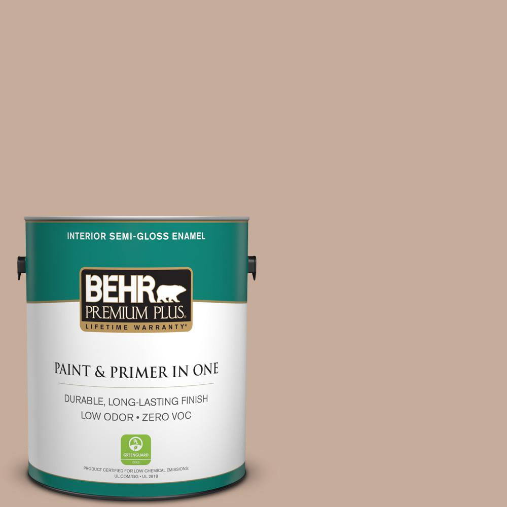 BEHR Premium Plus 1-gal. #ECC-57-1 California Stucco Zero VOC Semi-Gloss Enamel Interior Paint