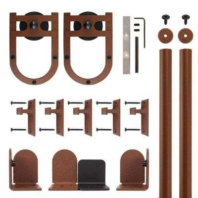Horseshoe New Age Rust Rolling Door Hardware Kit for 3/4 in. to 1-1/2 in. Door