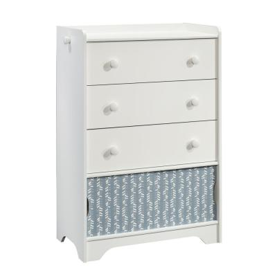 Pinwheel 3-Drawer Soft White Chest with Sliding Doors