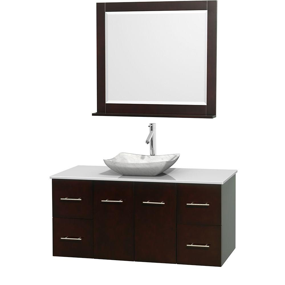 Wyndham Collection Centra 48 in. Vanity in Espresso with Solid-Surface Vanity Top in White, Carrara Marble Sink and 36 in. Mirror