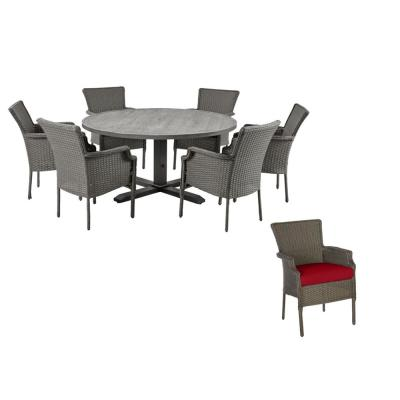 Grayson 7-Piece Ash Gray Wicker Outdoor Patio Dining Set with CushionGuard Chili Red Cushions