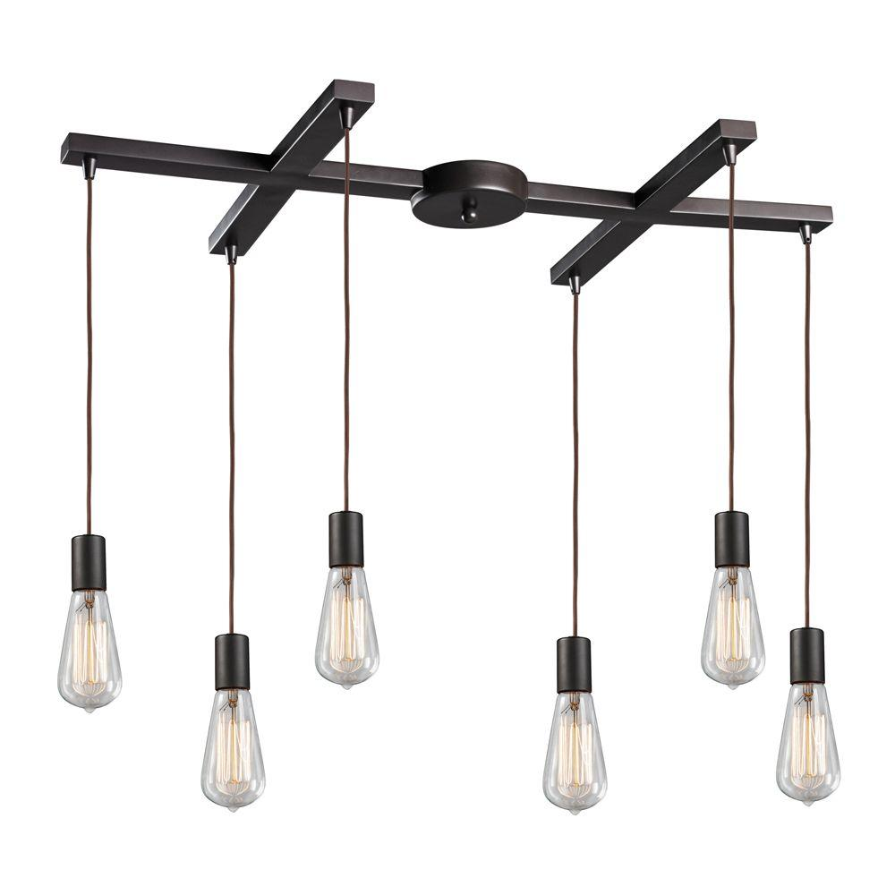 Titan Lighting Menlow Park 6-Light Oiled Bronze Ceiling Mount Pendant