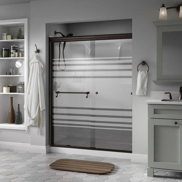 Portman 60 in. x 70 in. Semi-Frameless Traditional Sliding Shower Door in Bronze with Transition Glass