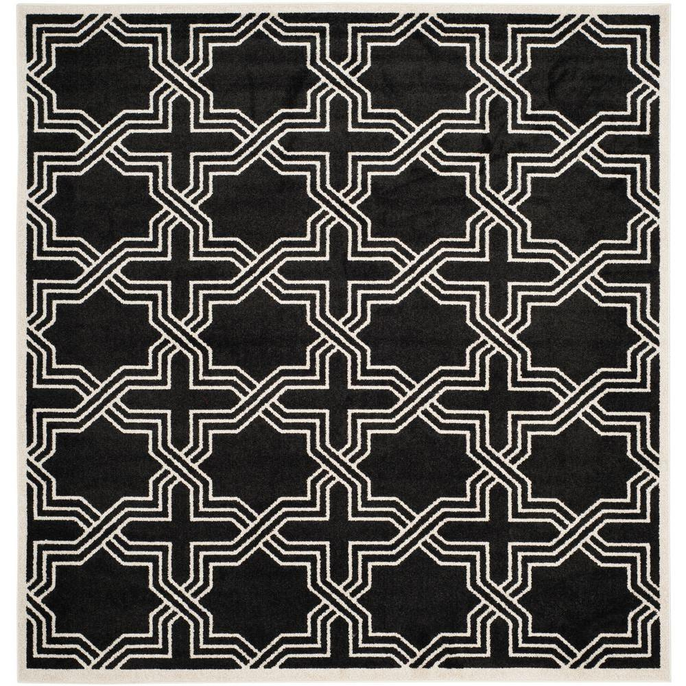 Amherst Anthracite/Ivory 7 ft. x 7 ft. Indoor/Outdoor Square Area Rug