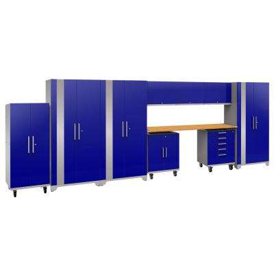 Performance Plus 2.0 80 in. H x 225 in. W x 24 in. D Steel Garage Cabinet Set in Blue (10-Piece) with Bamboo Worktop