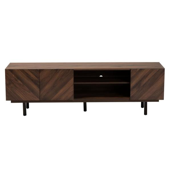 Berit 63 in. Walnut Wood TV Stand Fits 70 in. TV