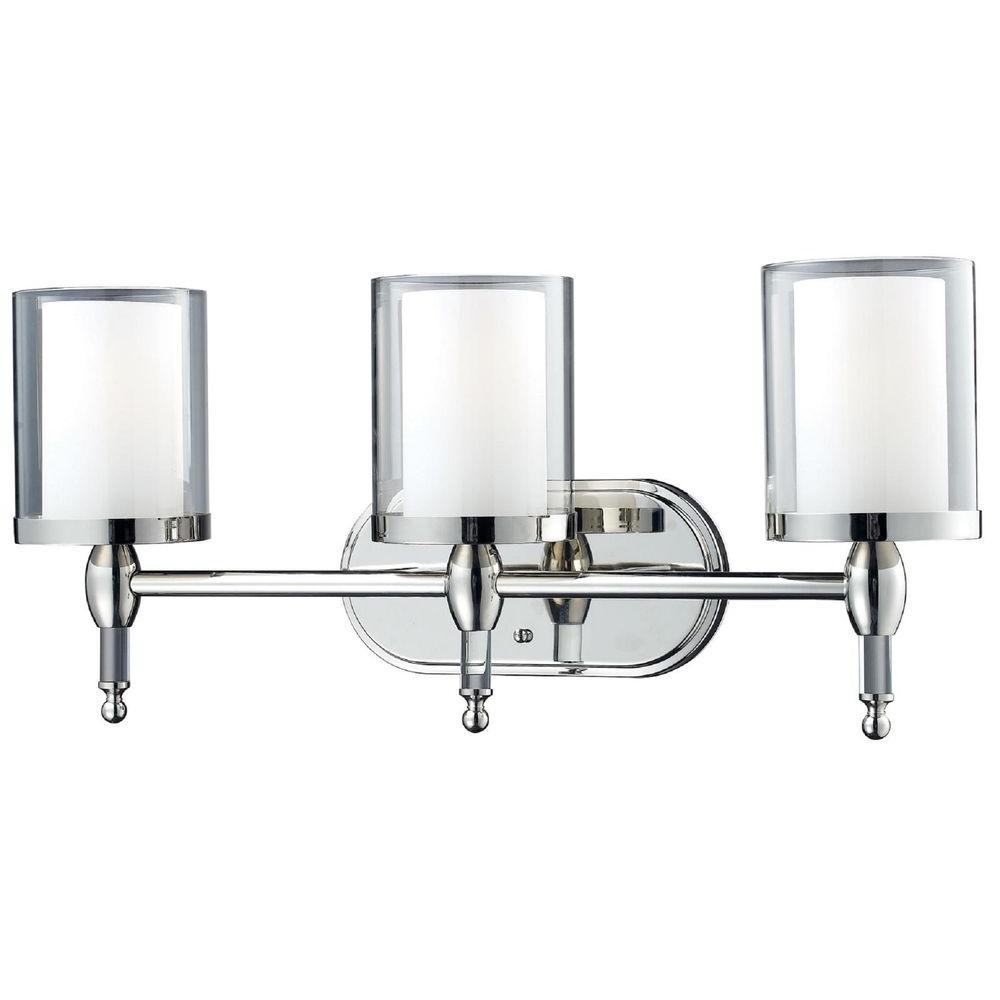 Lawrence 3-Light Chrome Bath Vanity Light with Clear and Matte Opal