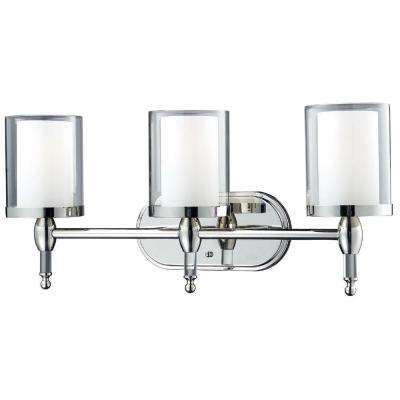 Lawrence 3 Light Chrome Bath Vanity Light With ...