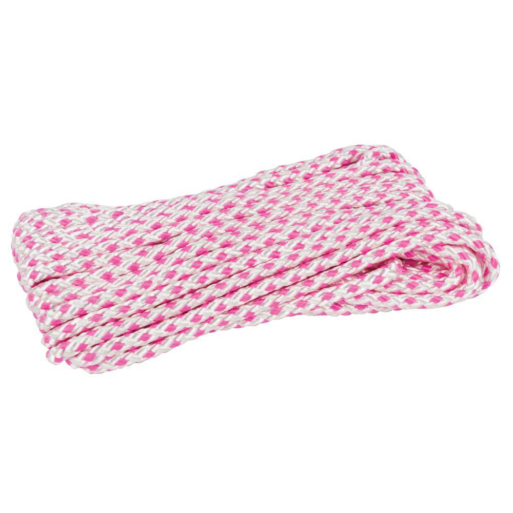 5/16 in. x 50 ft. Diamond Braid Polyester Rope in Pink