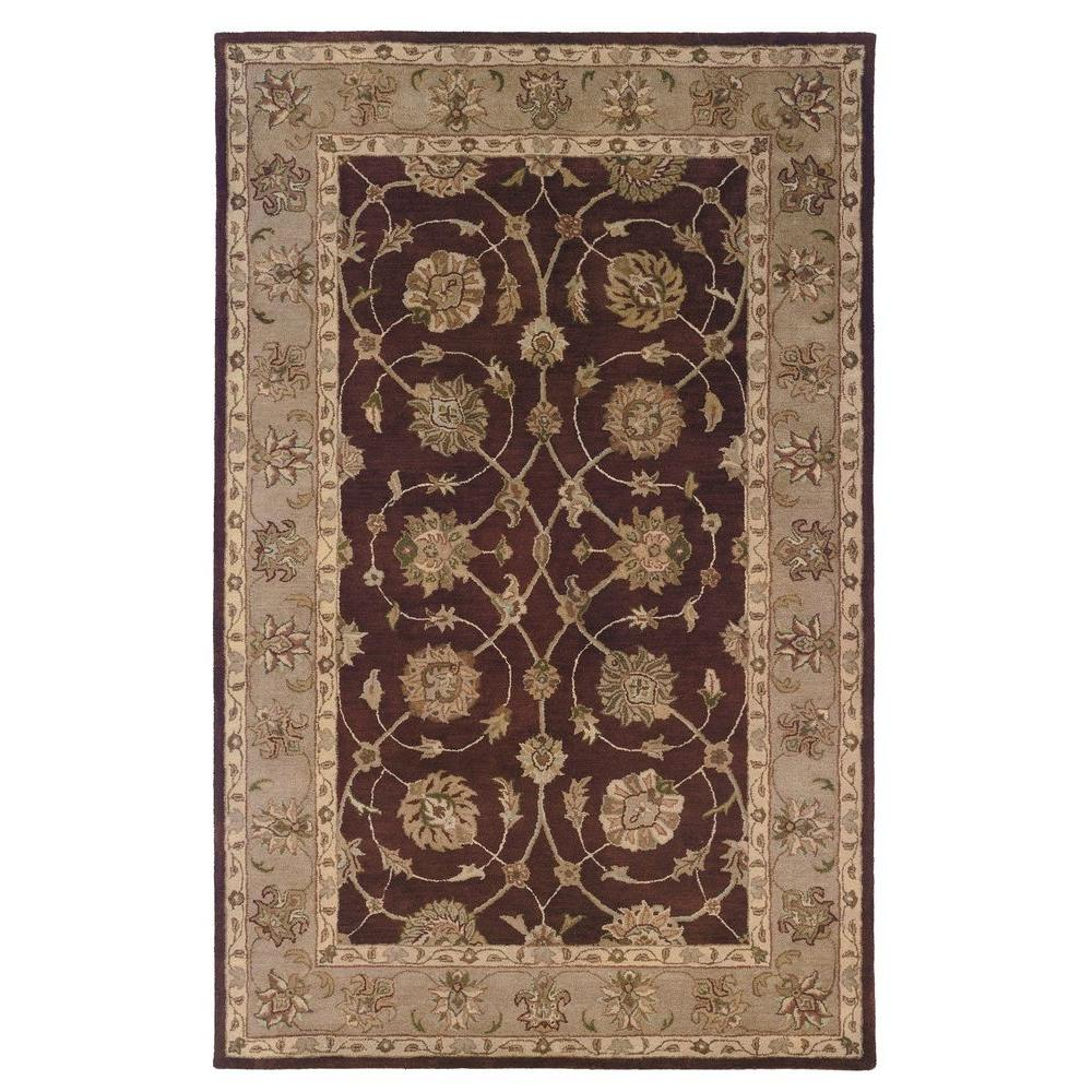 Linon Home Decor Rosedown Collection Burgundy And Beige 9 Ft X 12 Ft Indoor Area Rug Rug