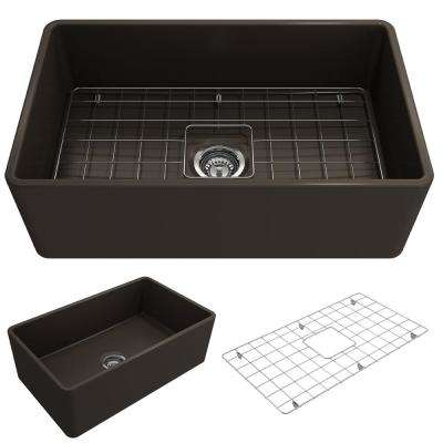 Classico Farmhouse Apron Front Fireclay 30 in. Single Bowl Kitchen Sink with Bottom Grid and Strainer in Matte Brown